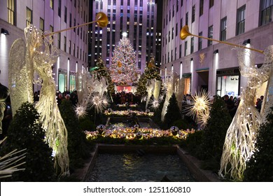 NEW YORK - DECEMBER 4, 2018: Famous Christmas Decoration with Angels and Christmas Tree - Rockefeller Centr on December 4, at New York City, NY.