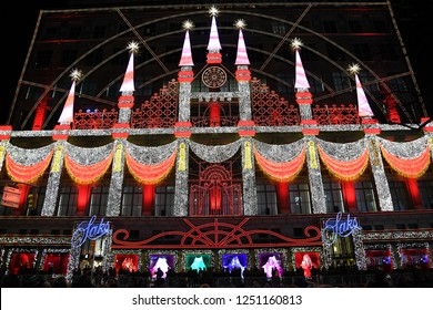 NEW YORK - DECEMBER 4, 2018: Saks Fifth Avenue's magical Theater of Dreams themed 2018  ultimate light show and holiday windows displays on December 4, at New York City, NY.