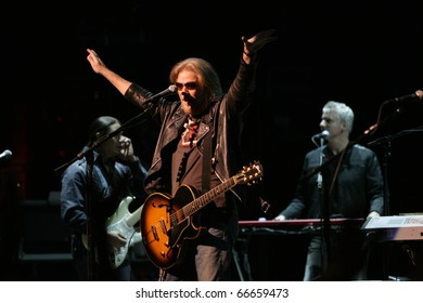 NEW YORK - DECEMBER 5: Musician Daryl Hall of music group Hall & Oates gestures as he performs at the Beacon Theatre on December 5, 2010 in New York City.