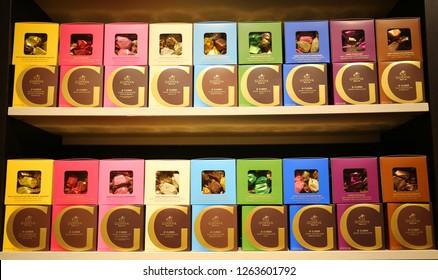 NEW YORK - DECEMBER 6, 2018: Chocolate boxes in Godiva store in Macy's Herald Square in Manhattan. Godiva Chocolatier is a manufacturer of premium chocolates founded in Belgium in 1926.