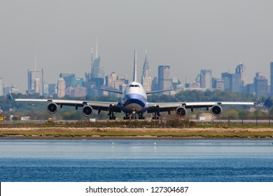 NEW YORK - DECEMBER 6: Boeing 747 China Airlines lining up on JFK runway in New York USA on December 6, 2012. China Airlines is the largest airline in Taiwan