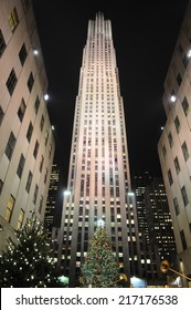 NEW YORK - DECEMBER 7: A Christmas tree towers over the Ice Rink at Rockefeller Center on December 7, 2009 in New York, NY, USA.