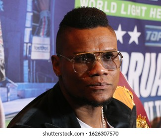 NEW YORK - DECEMBER 8, 2018: Light heavyweight world champion boxer Eleider Alvarez of Columbia during press conference for rematch fight against Sergey Kovalev in Madison Square Garden in New York