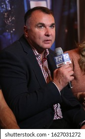 NEW YORK - DECEMBER 8, 2018: Boxing manager Egis Klimas during press conference for rematch fight between light heavyweight world champion Eleider Alvarez and Sergey Kovalev in Madison Square Garden