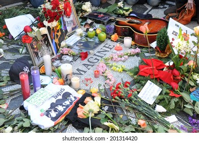NEW YORK - DECEMBER 8: A tribute to legendary musician John Lennon who was murdered on December 8, 1980 was held in Strawberry Fields in Central Park on December 8, 2010.