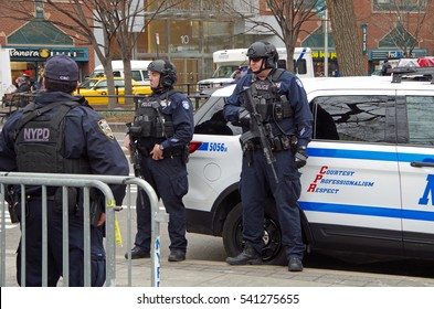 New York, New York- December Twenty First: New York City Police Department Counterterrorism Bureau stationed at Union Square Christmas market. December 21st 2016, Union Square East 14th  Street, NYC
