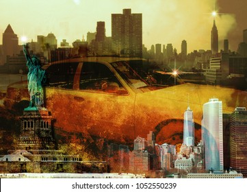 New York Downtown, Liberty Statue and Yellow Cab. 3D rendering