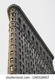 New York, EEUU, August 20 2018, Flatiron Building in a sunny day in New York city, white and black