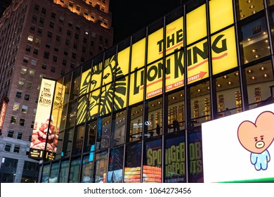 New York, Feb 16, 2018 - Sign: Lion King live theater