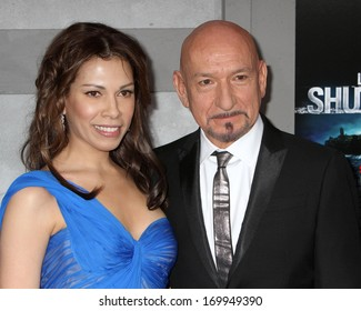"""NEW YORK - FEB 17: Sir Ben Kingsley and wife Daniela Barbosa attend the premiere of """"Shutter Island"""" at the Ziegfeld Theater on February 17, 2010 in New York City."""
