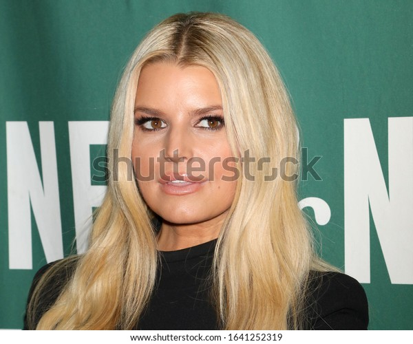 """NEW YORK - FEB 4, 2020: Jessica Simpson appears at Barnes and Noble to promote her new book """"Open Book"""" on February 4, 2020, in New York City."""