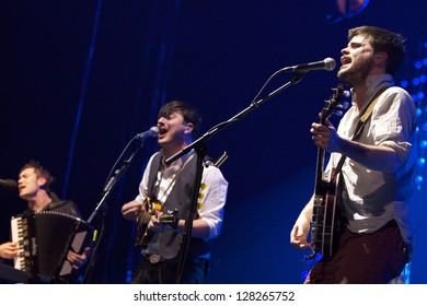 NEW YORK - FEB 6: Mumford and Sons perform at Barclay Center on Feb 6, 2013 in Brooklyn, New York.