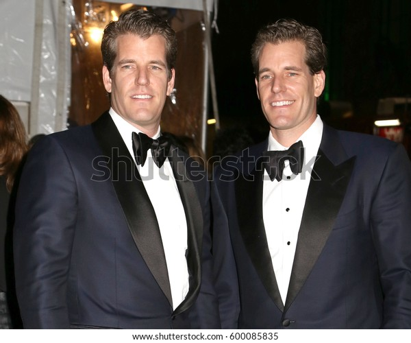 NEW YORK - FEB 8, 2017 - Cameron Winklevoss and Tyler Winklevoss attend the amfAR Gala at Cipriani Wall Street on February 8, 2017, in New York.