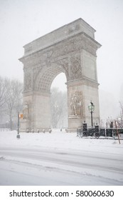 NEW YORK - FEB 9: Snow falls on February 9, 2017 in New York. Forecast snowfall totals ranged between five to 11 inches with a total of approximately six inches total and around NYC.