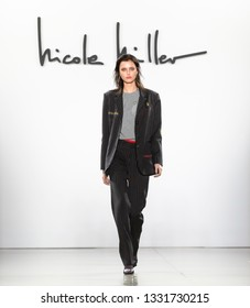 New York, New York - February 07, 2019: Todi van Ditmarsch walks the runway at Nicole Miller Fall Winter 2019 Fashion Show