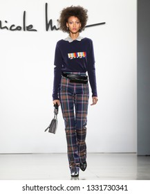 New York, New York - February 07, 2019: A model walks the runway at Nicole Miller Fall Winter 2019 Fashion Show