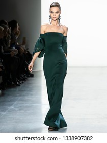 New York, New York - February 07 2019: A model walks the runway at Badgley Mischka Fall Winter 2019 Fashion Show