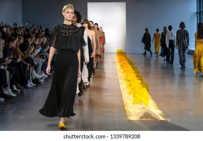 New York, New York - February 07 2019: Models walk the runway at Noon by Noor Fall Winter 2019 Fashion Show