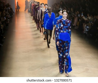 New York, New York - February 08, 2019: Models walk the runway at Cushnie Fall Winter 2019 Fashion Show