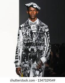 New York, New York - February 08 2019: Salomon Diaz walks the runway at Jeremy Scott Fall Winter 2019 Fashion Show