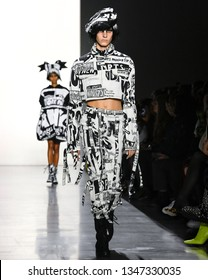 New York, New York - February 08 2019: Cyrielle Lalande walks the runway at Jeremy Scott Fall Winter 2019 Fashion Show
