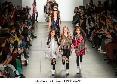 New York, New York - February 09, 2019: Models walk the runway at Custo Barcelona Fall Winter 2019 Fashion Show