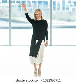 New York, New York - February 10, 2019: Designer Tory Burch walks the runway at Tory Burch Fall Winter 2019 Fashion Show