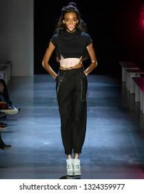 New York, New York - February 10, 2019: Winnie Harlow walks the runway during rehearsal for The Prabal Gurung Fall Winter 2019 Fashion Show