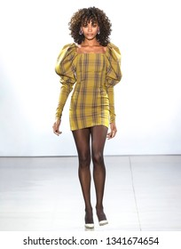 New York, New York - February 10, 2019: Chey Carty walks the runway at LaQuan Smith Fall Winter 2019 Fashion Show