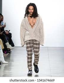 New York, New York - February 10, 2019: Luka Sabbat walks the runway at LaQuan Smith Fall Winter 2019 Fashion Show