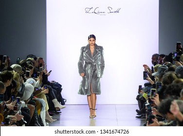 New York, New York - February 10, 2019: Danielle Herrington walks the runway at LaQuan Smith Fall Winter 2019 Fashion Show