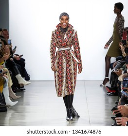 New York, New York - February 10, 2019: Halima Aden walks the runway at LaQuan Smith Fall Winter 2019 Fashion Show