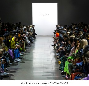 New York, New York - February 10, 2019: A view of the atmosphere before LaQuan Smith Fall Winter 2019 Fashion Show