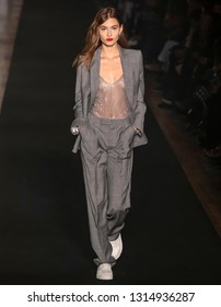 New York, New York - February 11, 2019: Grace Elizabeth walks the runway at Zadig & Voltaire Fall Winter 2019 Fashion Show at Park Avenue Armory