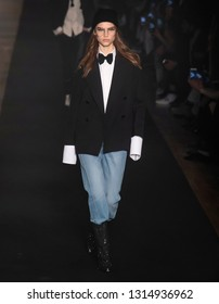 New York, New York - February 11, 2019: Meghan Roche walks the runway at Zadig & Voltaire Fall Winter 2019 Fashion Show at Park Avenue Armory