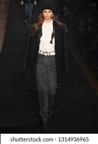 New York, New York - February 11, 2019: Taylor Hill walks the runway at Zadig & Voltaire Fall Winter 2019 Fashion Show at Park Avenue Armory