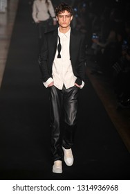 New York, New York - February 11, 2019: Serge Rigvava walks the runway at Zadig & Voltaire Fall Winter 2019 Fashion Show at Park Avenue Armory
