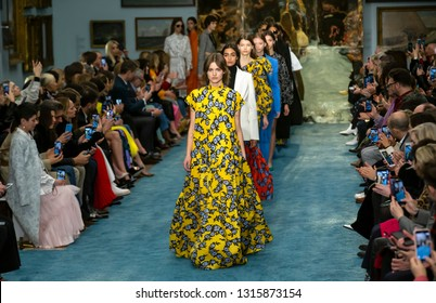 New York, New York - February 11, 2019: Models walk the runway at Carolina Herrera Fall Winter 2019 Fashion Show