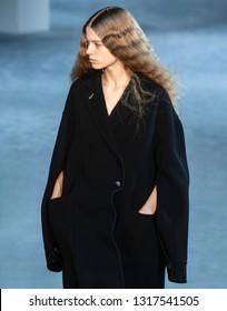 New York, New York - February 11, 2019: Linda Slava walks the runway at 3.1 Phillip Lim Fall Winter 2019 Fashion Show