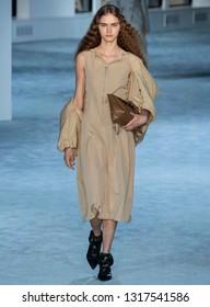 New York, New York - February 11, 2019: Masha Alexeeva walks the runway at 3.1 Phillip Lim Fall Winter 2019 Fashion Show