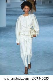 New York, New York - February 11, 2019: Ashanti Hildreth walks the runway at 3.1 Phillip Lim Fall Winter 2019 Fashion Show