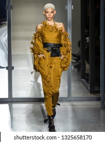New York, New York - February 11, 2019: Dilone walks the runway at Zimmermann Fall Winter 2019 Fashion Show