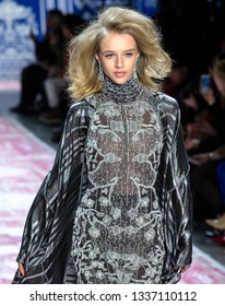 New York, New York - February 12 2019: Nina Dapper walks the runway at Naeem Khan Fall Winter 2019 Fashion Show