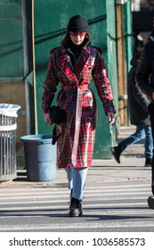 NEW YORK - FEBRUARY 12: Bella Hadid is seen walking in the street on February 12, 2018 in New York City.