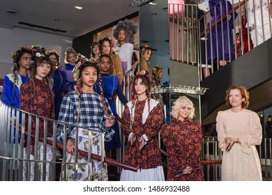 NEW YORK, NEW YORK - FEBRUARY 12: A model walks the runway at the Batsheva Ready to Wear Fall/Winter 2019-2020 fashion show during New York Fashion Week on February 12, 2019 in NYC.