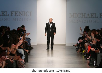 8b2b83c182dd NEW YORK - FEBRUARY 13  Designer Michael Fenici walks the runway at Michael  Fenici Fall