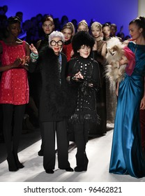 NEW YORK - FEBRUARY 15: Iris Apfel and Joanna Mastroianni on runway for collection by Joanna Mastroianni during Fashion week at Lincoln Center in Manhattan on February 15, 2012 in New York City