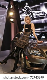 NEW YORK - FEBRUARY 15: Mercedes-Benz Brand Ambassador Karolina Kurkova unveils redesigned 2012 CLS at Mercedes-Benz Fall/Winter 2011 Fashion Week on February 15, 2011 in New York City.