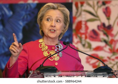 NEW YORK - February 16, 2017: Hillary Clinton attends an unveiling ceremony for the Oscar de la Renta Forever Stamp at Grand Central Station on February 16, 2017 in New York.