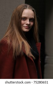 NEW YORK - FEBRUARY 17:  Model Nimue Smit leaves the runway after the Calvin Klein Fall 2011 Collection presentation during Mercedes-Benz Fashion Week on February 17, 2011 in New York.